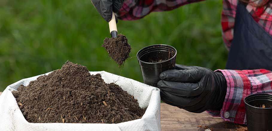 Άντρας κηπουρός γεμίζει με χώμα γλαστράκια για φύτεμα
