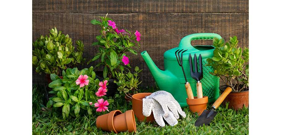 Εφόδια κηπουρικής όπως ποτιστήρι, τσουγκράνα, σπάτουλα και γλάστρες με φυτά μέσα σε κήπο