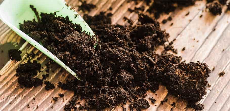 Κηπουρική σπάτουλα με χώμα με λίπασμα σε ξύλινο φόντο.